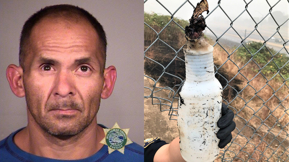 Portland police say Domingo Lopez Jr. admitted to starting a brush fire along I-205 on Sept. 13, 2020 by using a Molotov cocktail. Booking photo courtesy Multnomah County Jail, evidence photo courtesy Portland Police Bureau