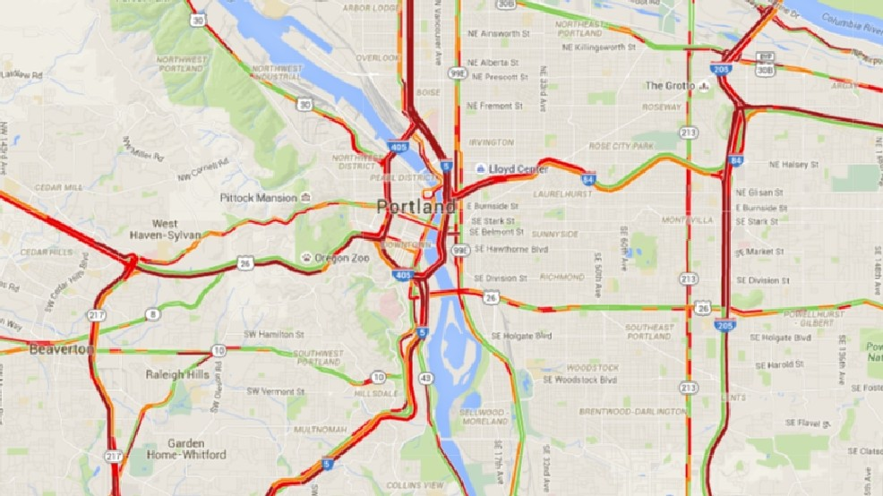 traffic map portland oregon Reports Of Oil Spill On I 405 And Highway 30 Traffic At