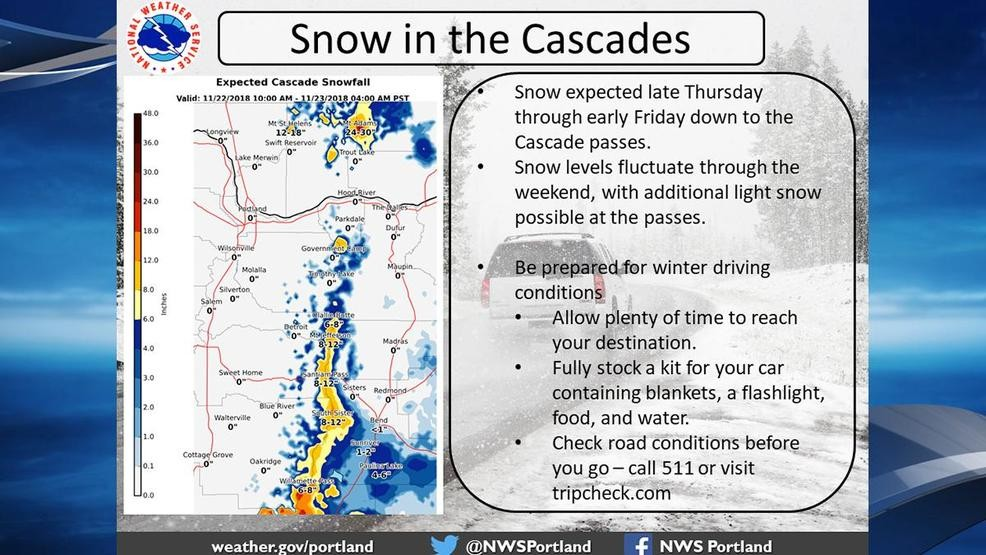 Prepare for a snowy drive over the Cascades through Winter